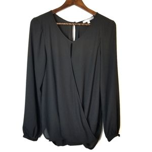 Ny Collection sheer black faux wrap top